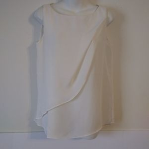 NY&C White Draped Sleeveless Blouse Medium